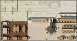 marques-design d'intérieur-meubles-design-épicerie fine-gastronomie-hall-laboratoire-rendu-planification