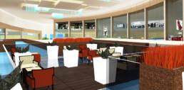Innenarchitektur-Rendering-Bar-Luxus-Patio-Café